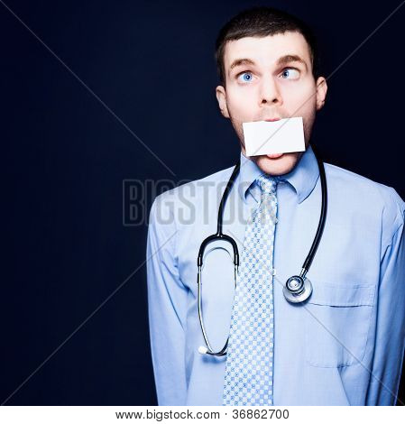 Crazy Pediatrician Doctor With Business Card Mouth