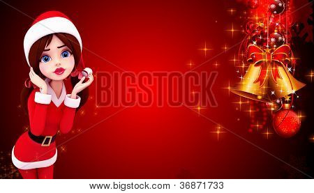 illustratio of santa girl on red color background