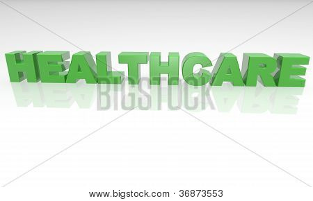 healthcare - 3d text with a white background and reflection