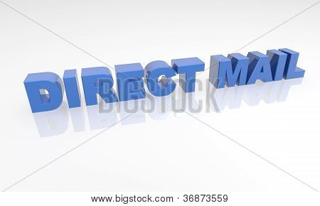 Direct mail - 3d text with a white background and reflection