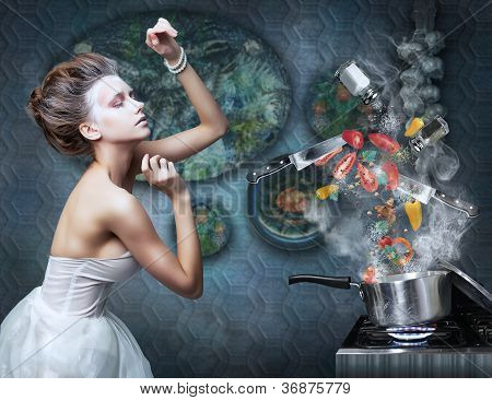 Stove. Housewife Prepares Meals. Food Ingredients In Smoke
