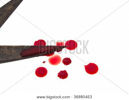 Old Scissors And A Drop Of Blood.