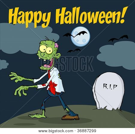Happy Halloween Greeting With Zombie