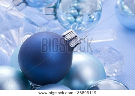 blue shiny christmas balls
