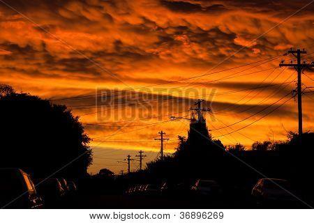 Apocalyptic Sunset Over Urban Street