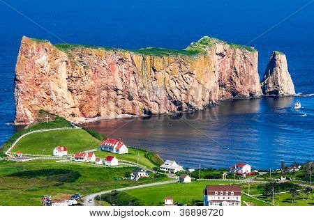 Perce Rock In Gaspe Quebec.