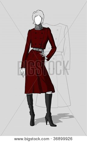 Woman in long maroon coat
