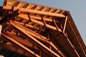 stock photo of gable-roof  - Wooden roof construction - JPG