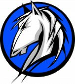 stock photo of bronco  - Graphic Mascot Vector Image of a Mustang Bronco Horse - JPG