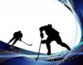 image of hockey arena  - Hockey player silhouette with line background - JPG