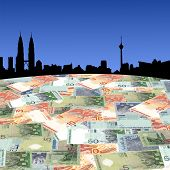 pic of ringgit  - Kuala Lumpur skyline with Malaysian Ringgit foreground illustration - JPG