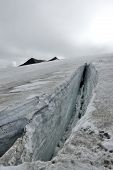 picture of crevasse  - Huge crevasse during accent on Snaefellsjokull glacier in Iceland - JPG