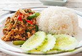 stock photo of gai  - Thai spicy food basil chicken fried rice recipe  - JPG