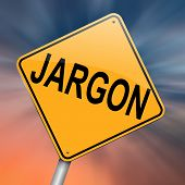image of jargon  - Illustration depicting a roadsign with a jargon concept - JPG