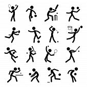 stock photo of netball  - Simple Sport Pictogram Icon Collection Set  - JPG