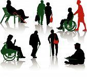 stock photo of disabled person  - Silhouette of old people and disabled persons - JPG