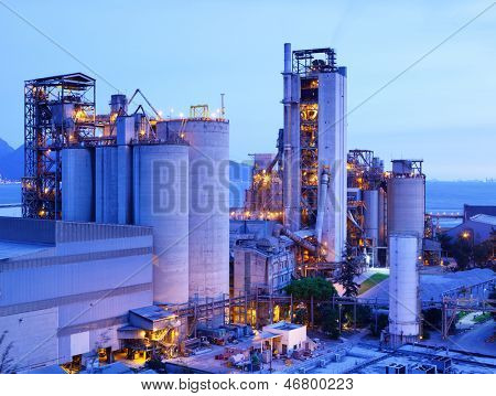 Industrial plant at dusk