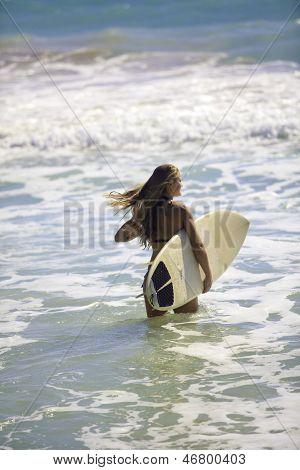 Blond In Bikini With Surfboard