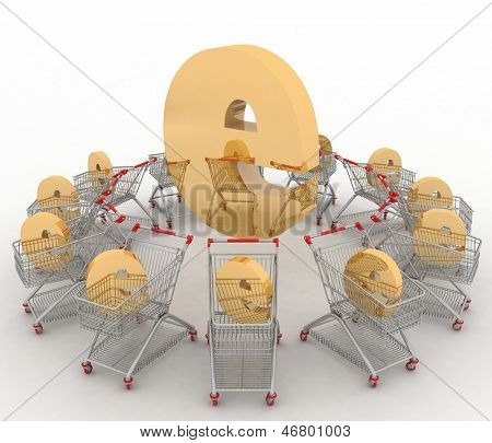 e-commerce sign in a trolley round e on a white