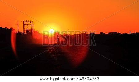 Dusty Sunset On Backroads Of Gujarat