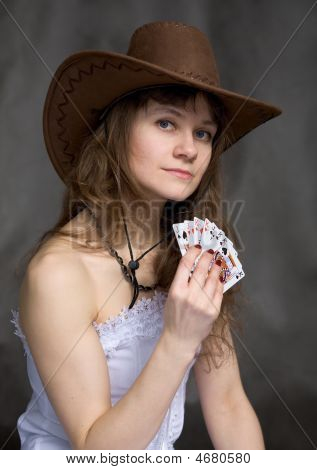 Portrait Girl With A Playing-cards