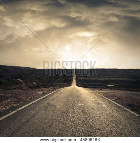 long deserted road in Malta