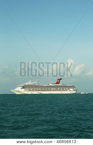 Carnival Conquest Cruise Ship anchors near Belize City