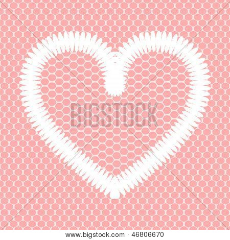 White crochet heart on pink lacy mesh card background, vector