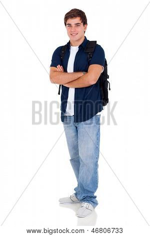 portrait of young high school student with arms folded over white background