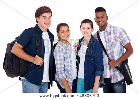 diversity group of teenage boys and girls isolated on white background