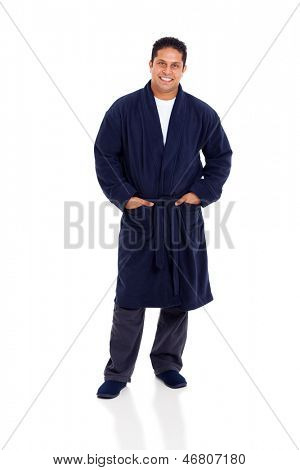 cheerful indian man in nightgown isolated on white background