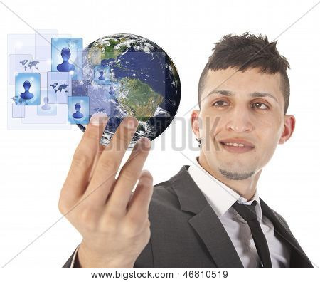Young Man Holding Earth With Social Media Symbols Isolated On White