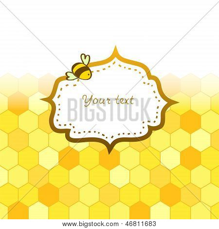 Colorful golden honeycomb with a frame card background, vector