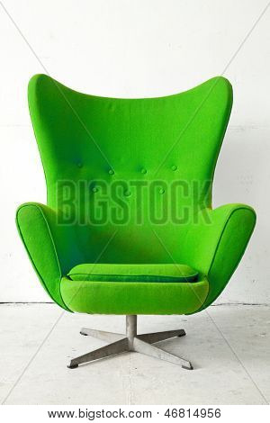 Green modern style Armchair in vintage room