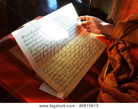 Monk Reading Scripture Of Tales Of The Lord Buddha's Former Births