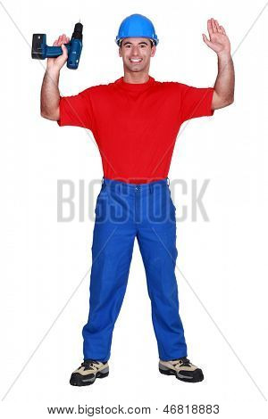 Man with raised arms