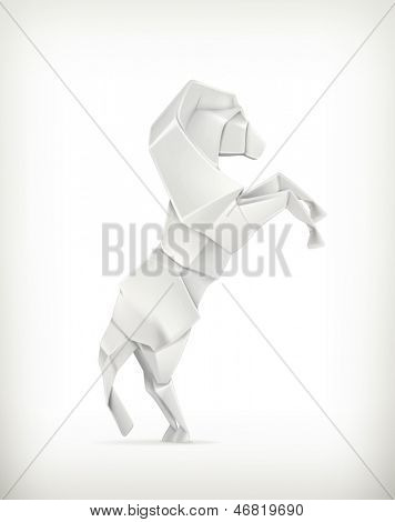 White paper horse, vector origami