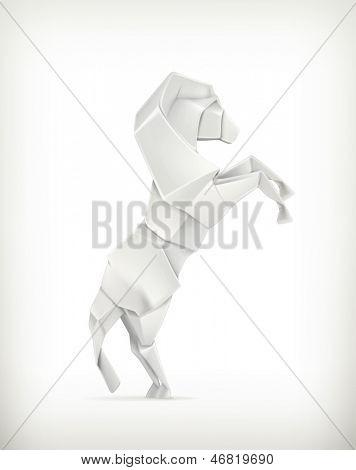 White paper horse, vector origami