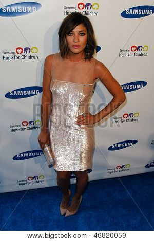 NEW YORK-MAY 29: Actress Jessica Szohr attends the Samsung Hope for Children gala at Cipriani Wall Street on June 11, 2013 in New York City.