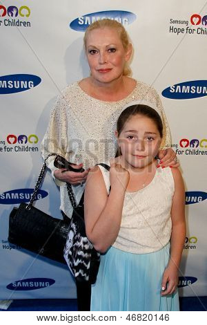 NEW YORK-MAY 29: Actress Kathy Moriarty and daughter Annabella attend the Samsung Hope for Children gala at Cipriani Wall Street on June 11, 2013 in New York City.