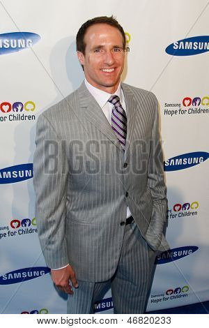 NEW YORK-MAY 29: NFL player Drew Brees attends the Samsung Hope for Children gala at Cipriani Wall Street on June 11, 2013 in New York City.