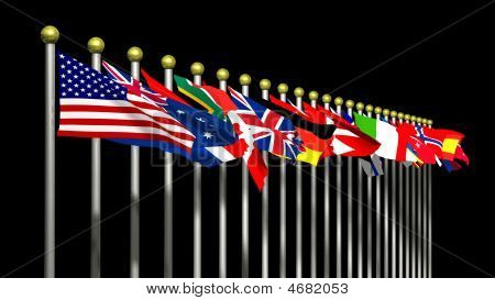 World Flags On Black Background