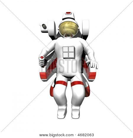 Astronaut In Booster Pack On White