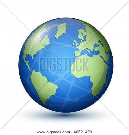 Globo. Tierra. Planeta. Concepto de comunicación global. Ilustración de Vector