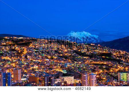 Panorama Of Night La Paz, Bolivia