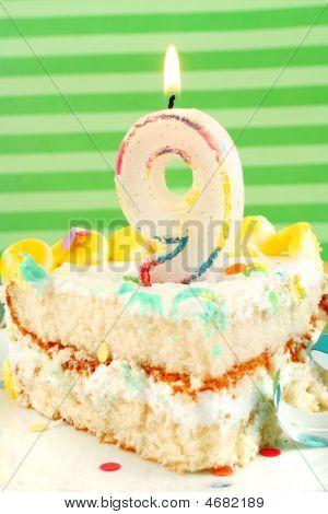 Slice Of Nineth Birthday Cake