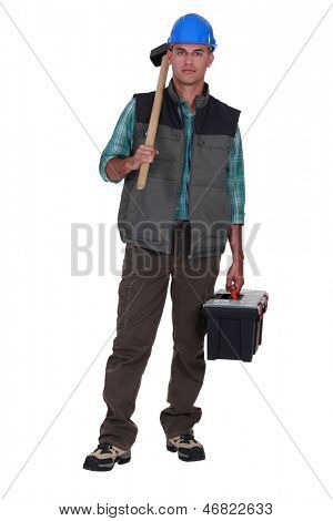 Portrait of a tradesman arriving at work