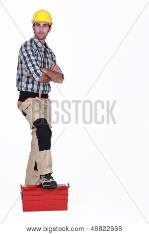 Portrait of a standoffish tradesman