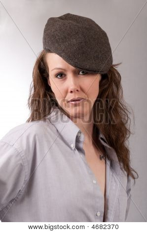 Pretty Woman With Vintage Thug Hat