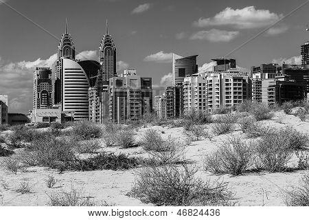 Midday Heat In The Desert In The Background Buildingsl On Nov 17, 2012 In Dubai Uae
